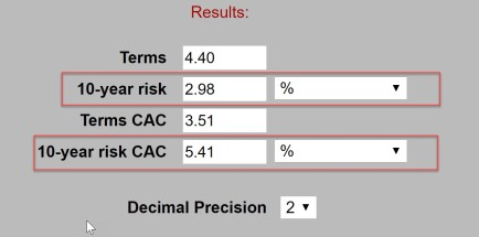 CAC risk calculation